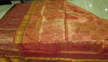 Gorgeous All Over Body Ikat Work Tissue Saree in Silk with Blouse Piece