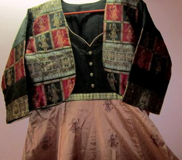 Ready Made Anarkali Kameez with Detached Jacket In Silk