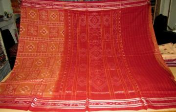 Rust n Maroon All over body Ikat Saree without Blouse Piece