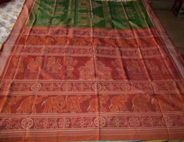 Creative Ikat work of Temple and Animal Motifs on Orissa Handloom Cotton Saree with Blouse piece