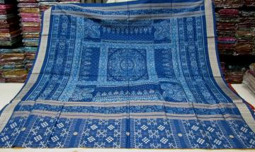 Gorgeous Blue Pasapalli Saree With Traditional Ikat Aanchal Silk Saree with Blouse Piece