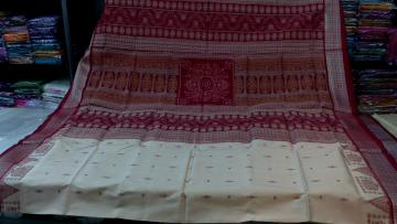 Off White Maroon Bomkai n Ikkat work Silk Saree with Blouse Piece