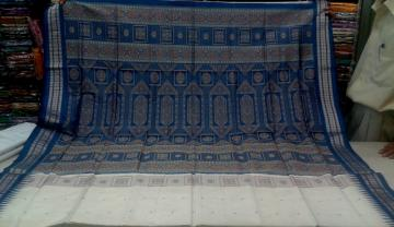 Gorgeos White n Blue Bomkai Silk Saree with Blouse