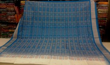 White n Blue Traditional Bomkai Saree with Blouse Piece