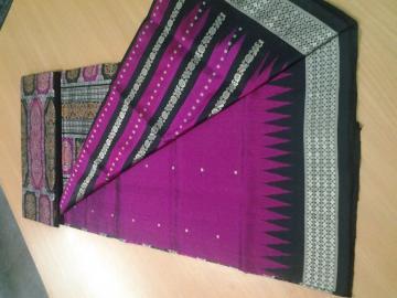 Magenta black Patli Saree in Silk with Blouse Piece