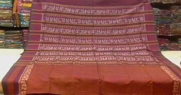 Tribal Border Aanchal Patli Work Ikat Silk Saree With Blouse Piece