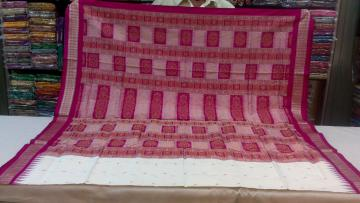 White n Magenta Bomkai saree in Silk With Blouse Piece