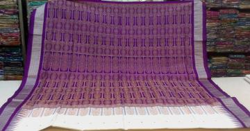 Beautiful White and Violet Bomkai Saree in Silk with Blouse Piece
