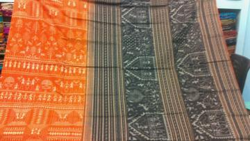 Orange Black All over tribal Work Cotton Saree with Blouse Piece