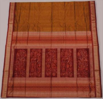 orissa  handloom traditional Plain Body bomkai and ikat work designer saree