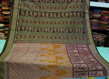 Dancer Motifs All Over Ikat Work Cotton Saree with Blouse Piece