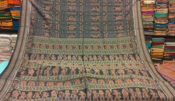 Ancient Temple theme All over ikat work Cotton Saree with Blouse piece