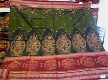 Beautiful Dancer Motifs All Over Ikat Work Cotton Saree with Blouse Piece