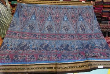 Elephant Motif all over Ikat work Cotton Saree with Blouse Piece