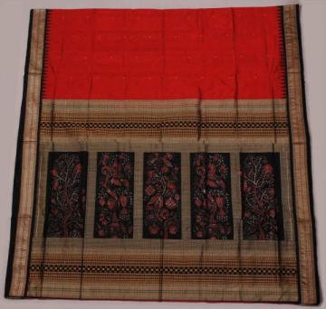 orissa  handloom traditional Maroon Body- bomkai and ikat work designer saree