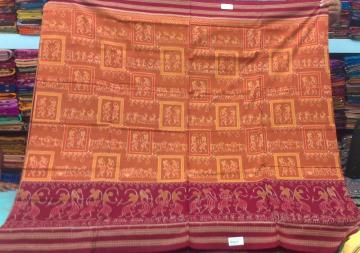 Tribal Work All Over Ikat Cotton Saree with Blouse Piece