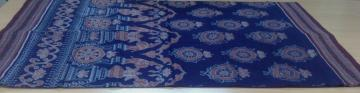 Elephant and wheel motif Ikat Cotton Saree with Blouse Piece