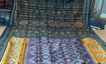 All over ikat work Traditional Design Silk Saree without Blouse Piece