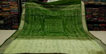 Tribal work body with Traditional Aanchal Ikat Silk Saree With Blouse Piece