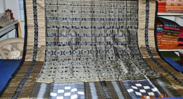 Orissa Handloom Vichitrapuri Traditional Grey-Black  Saree