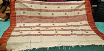 Fish Motif Off white n Maroon Cotton n Tassar mix Kotpad Saree