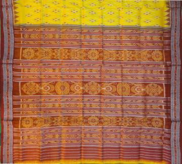 Yellow and maroon silk khandua Saree without blouse piece