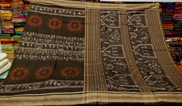 Tribal work in Ikat fine Cotton Saree with Blouse Piece