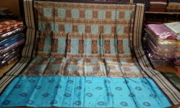Blue and Black Bomkai SIlk Saree with Blouse Piece