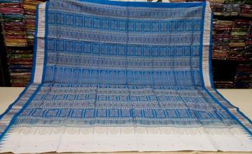 White and Blue Patli Bomkai Saree