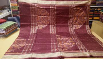 Half Circle Pattern Traditional Ikat Silk Saree with Blouse Piece