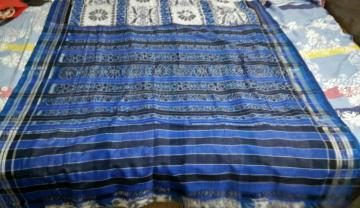 White and Blue All Over Ikat Cotton Saree without Blouse Piece