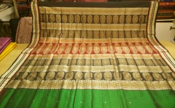 Double Border Traditional Bomkai Saree in Silk With Blouse Piece