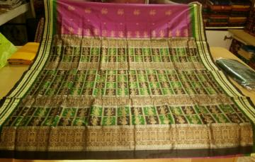 All over Doll Motifs Bomkai Tradiotional Saree in SIlk with Blouse Piece
