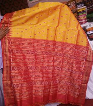 All over ikat work traditional Khandua saree without blouse piece