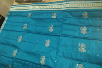 Blue doll motif silk salwar suit