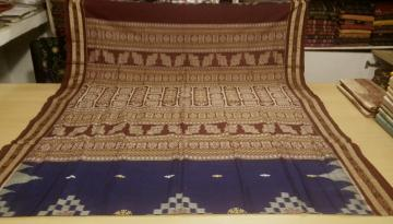 Blue Ikat- Bomkai Cotton Saree with Blouse Piece
