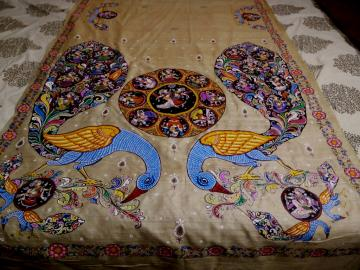 Ganjapa Pattachitra Work On Tasar Saree with Blouse Piece