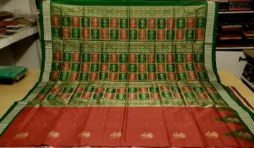 Red and Green Doll Motifs Bomkai Silk Saree with Blouse Piece