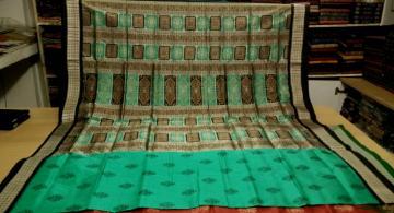 Sea Green And Black Floer Motifs Silk Bomkai Saree with Blouse Piece