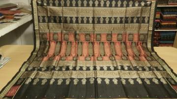 Pot Motifs Border and aanchal Bomkai Saree in Silk with Blouse Piece