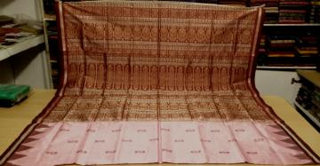 Traditional Pink and Maroon Silk Bomkai Saree with Blouse piece