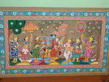 Radha Krishna WIth Gopis Pattachitra Decorative