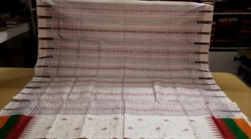 FIsh Motifs Triple Border Ikat and Bomkai Silk Saree with Blouse Piece