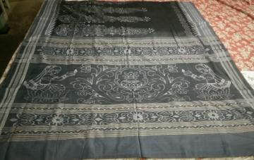 Black And Grey Line work Ikat Cotton Saree Without Blouse Piece