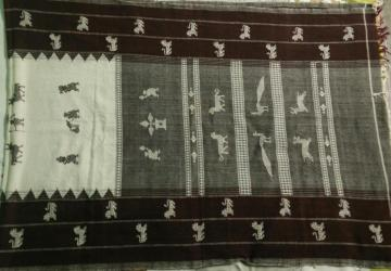 Animals  Birds And Tribal Motifs Kotpad Cotton Dupatta