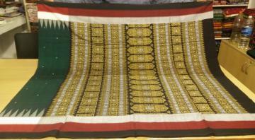 Three color borders Elegant Bomkai Saree with Blouse Piece