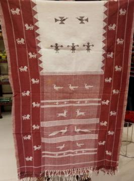 Animal Bird Motifs Tribal Figures Exclusive Kotpad Cotton Dupatta