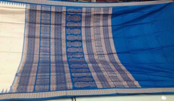 White and Blue Bomkai Silk Saree