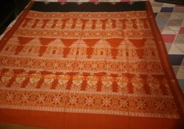 Master  Weaver s Creation Intricate Temple Dancer wheel Motifs Bomkai Cotton Saree with Blouse Piece