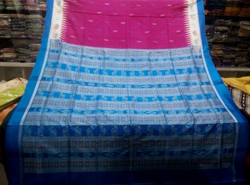 Animal Motifs Border And Aanchal Bomkai Silk Saree with Blouse Piece